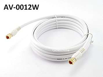 Chapados en oro de 12 pies RG6 75 Ohm alta calidad coaxial coaxial video cable blanco