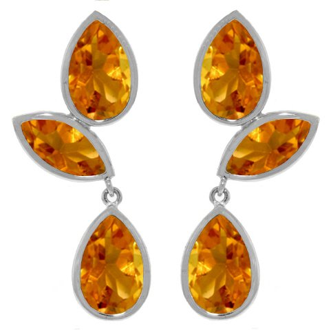 14K White Gold Chandelier Drop Earrings with bezel-set Natural Citrines