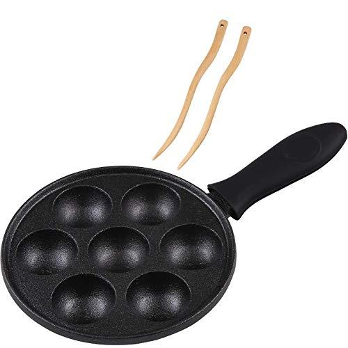 Cast Iron Aebleskiver Pan for Danish Stuffed Pancake Balls by Upstreet (Black)