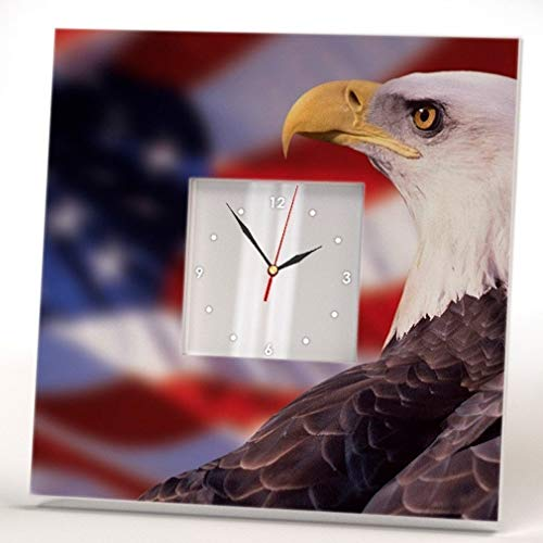 (American Flag and Bald Eagle Wall Clock Framed Mirror Printed USA Fan Art Home Patriotic Decor Gift)