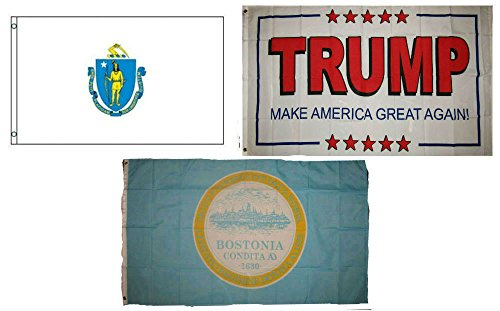ALBATROS 3 ft x 5 ft Trump White #2 with State Massachusetts with City Boston Set Flag for Home and Parades, Official Party, All Weather Indoors -