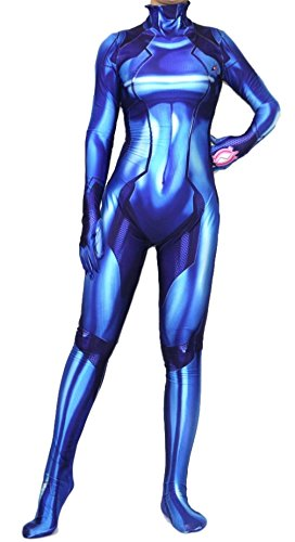 Hideaway Zero Suit Samus Style Costume [ XS,S,M,L,XL ] Spandex Blue Color 3D Printed Bodysuit (Large (Height:5'7