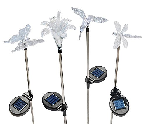 Solaration KB1041 Solar Stake Flower, Hummingbird, Butter...
