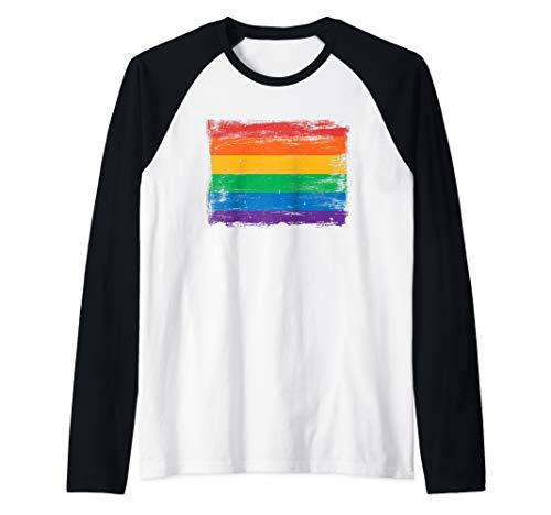 - Vintage Painted Rainbow Gay Pride Flag Shirt Raglan Baseball Tee
