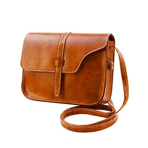 à poches Messenger téléphone Sac épaule bandoulière à femme bourse Sac Clair Grande Sling Mini carré capacité Republe main Vintage Marron pEqx60I