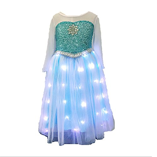 SHINYOU Girls Princess Dress Frozen Costume Elsa Dresses for Halloween,Disney Cosplay(3-4Y) Blue -