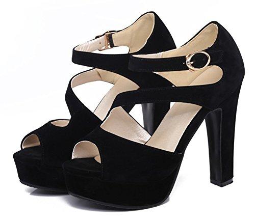 Sandales Peep Toe Daisun Pour Femme Avec Bride À La Cheville - Talons Hauts À Boucle Sexy - Plateforme Chunky Chaussures Noires