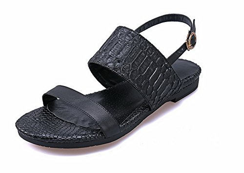 AmoonyFashion Womens Open Toe Low Heels Patent Leather Solid Buckle Sandals Black DjCsH3XJU