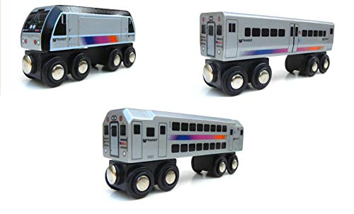 Munipals Wooden New Jersey NJ Transit Locomotive and Transit Three Car Set