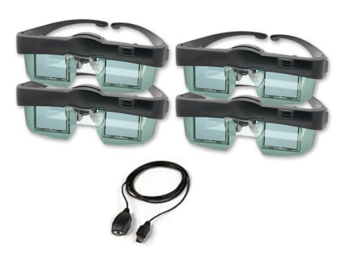DLP 3D shutter glasses and transmitter family 4 pack for your compatible 3D HDTV (computer or converter required for some 3D content) by I-O DATA (Image #1)