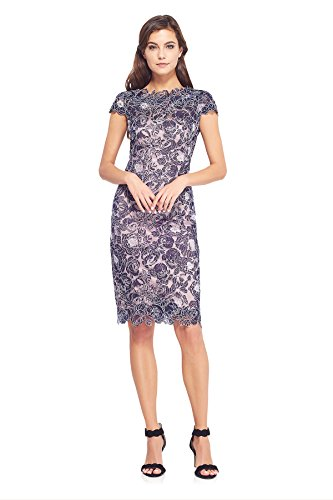 Tadashi Shoji Women's Cap Sleeve Floral Lace Dress, Navy/Ivory, 4