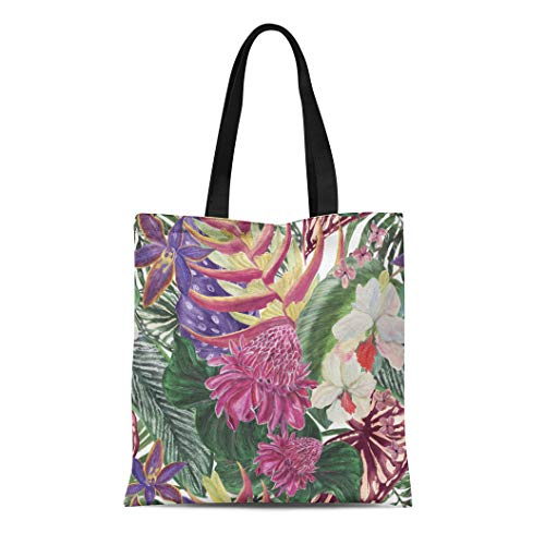 Semtomn Cotton Canvas Tote Bag Watercolor Tropical Pattern Exotic Flowers Bird of Paradise Orchidea Reusable Shoulder Grocery Shopping Bags Handbag Printed