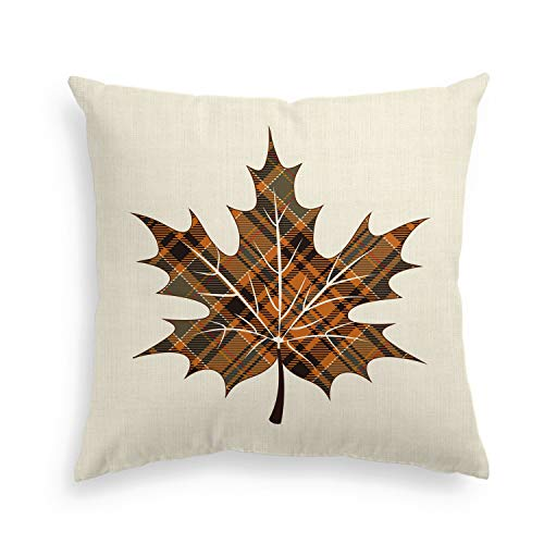 Autumn Leaves Pillow - AVOIN Fall Buffalo Check Plaid Maple Leaf Throw Pillow Cover Linen Decorative Pillowcase, 18 x 18 Inch Autumn Thanksgiving Harvest Vintage Farmhouse Cushion Cover for Sofa Couch Home Decor