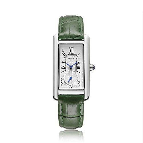 Classic Quartz Watch Women Leather Band Lady Luxury Antique Stylish Square Dress Watch (Silver & Green) -