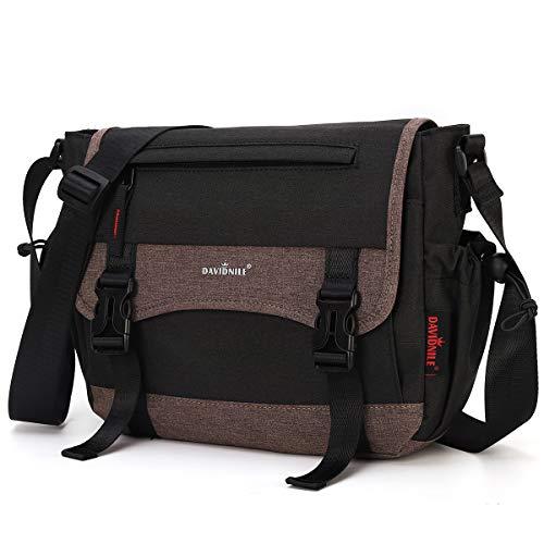 Men's Shoulder Messenger Bag Nylon School Messenger Crossbody Book Bags for Men Business Office Computer Bag Briefcase (Black)