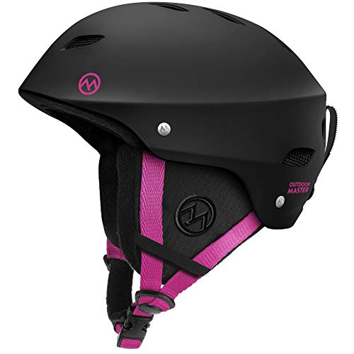 OutdoorMaster Kelvin Ski Helmet - with ASTM Certified Safety, 9 Options - for Men, Women & Youth (Black+Pink,L)