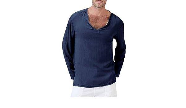 Resplend Camiseta de Verano para Hombre de algodón, Lino, Hippie tailandesa, Camisa, Cuello en V, Playa, Blusa Superior de Yoga: Amazon.es: Ropa y ...