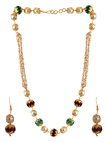 (Efulgenz Indian Layered Traditional Muticolor Faux Pearl Beads Strand Necklace Earrings Set Fashion Costume)