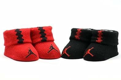 Amazon.com: Jordan Baby 2 Pack Newborn Baby Booties Red, 0 ...