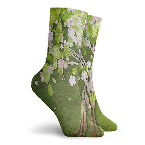 Men Multicolored Pattern Floral Blossoming Petals Florets Colorful Patterned Dress Socks -