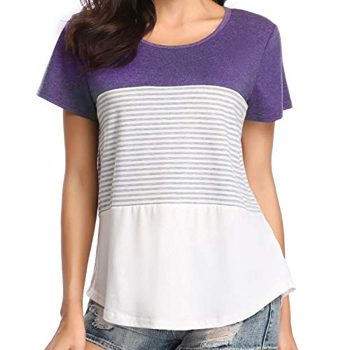 Chalier Womens Short Sleeve Round Neck Triple Color Block Striped Tee Shirts Casual Blouse Tops