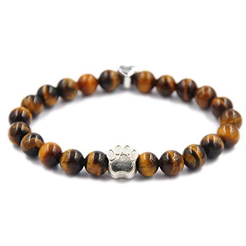 Zozu Liuanan Vintage Dog Paw Silver Charms Energy Charka Lucky Bracelet with Natural Cuff Bracelet - Women, Mens (Tiger - Silver Paw Charm Polished