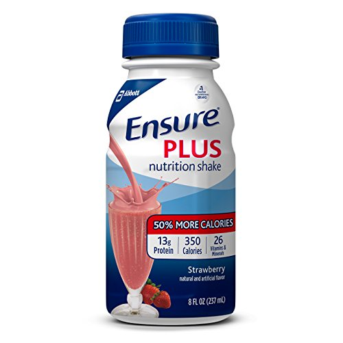 (Ensure Plus Nutrition Shake with 13 grams of high-quality protein, Meal Replacement Shakes, Strawberry, 8 fl oz, 24 count)