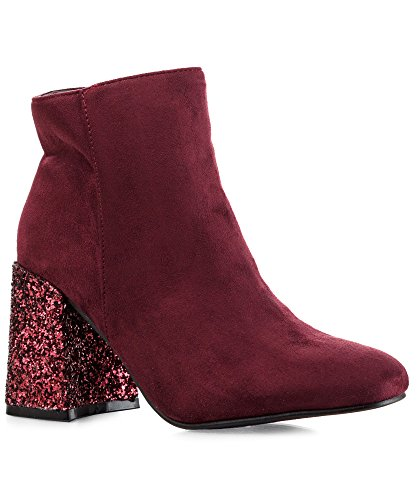 ROF Women's Tailored Vegan Suede Almond Toe Square Glitter Heel Fleece Lined Ankle Bootie Boots - BE01 BURGUNDY (Red Glitter Boots)