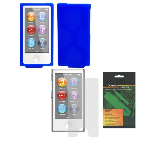 iShoppingdeals - Blue Soft Silicone Skin Cover Case and Anti