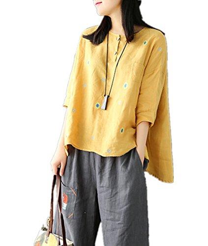 子供時代電子精巧なYesno E15 レディーズ ルース トップス ブラウス 麻 100% カジュアル ボタンアップ 刺繍 高低裾 7分袖