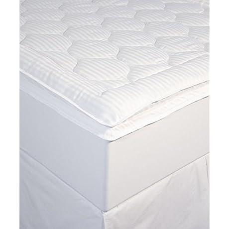 Perfect Fit Luxury Stripe Mattress Enhancer Full White