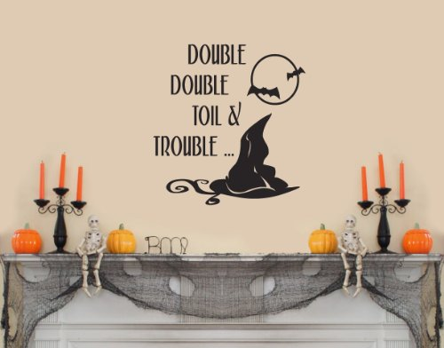Double Double Toil and Trouble Wall Saying Witch Hat Halloween Decal Banner Sticker Set Home Decoration Party Decor