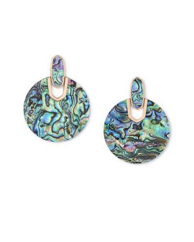 (Kendra Scott Didi Statement Earrings in Abalone In Rose Gold)
