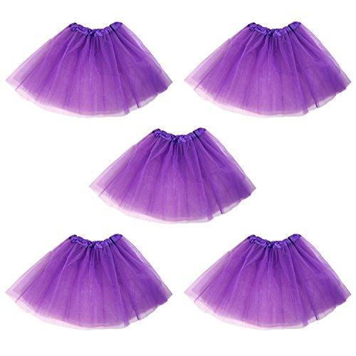 Dark Ballet Costumes (Tutu Ballet Skirt, Bulk 5 Pack, Princess Party Costume Favors (Dark Purple))