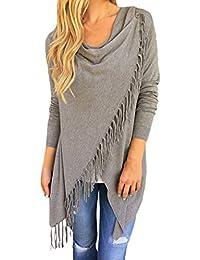 Women's Tassel Hem Open Front Cardigan Pullover Knit Sweater Coat