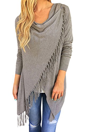 Pink Queen Women's Tassel Hem Open Front Knitwear Cardigan Sweater Coat Gray S