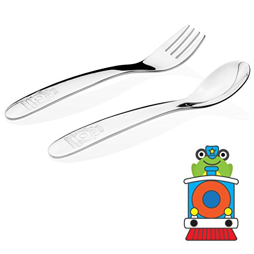 Kiddobloom Baby / Early Toddler (up to 18 months) Stainless Steel Utensil Set, Train model, 2-piece Tot Flatware Set Includes Spoon and Fork. Perfect for Baby Shower Gifts.
