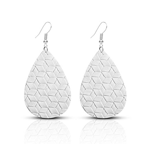 SUMMER LOVE Faux Learther Teardrop Earrings Lightweight Bohemia Vintage Leather Dangle Drop Earrings for Women Girls (White) ()
