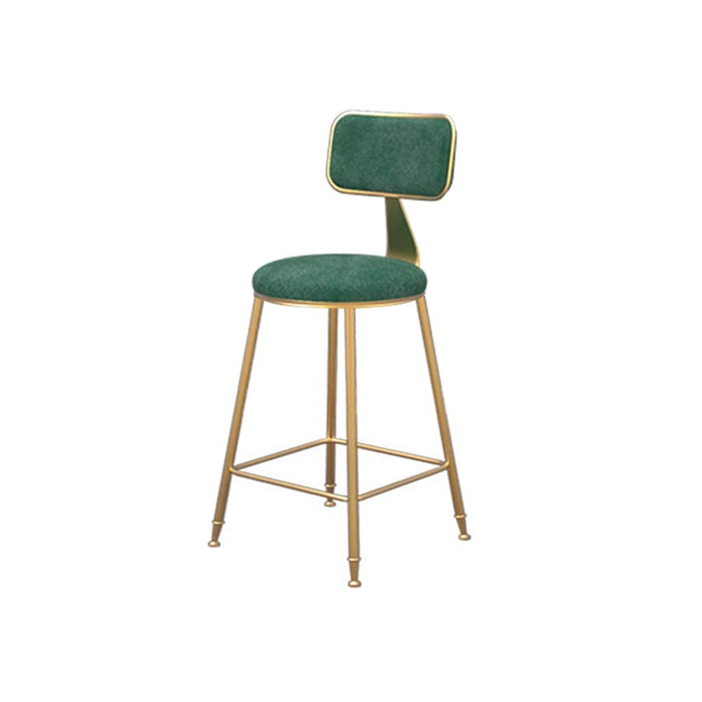 Green 45cm high Simple bar Chair Flannel Barstool Dining Chair High Stool Leisure Chair (color   White, Size   45cm high)