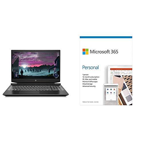 HP Pavilion Gaming 15.6-inch FHD Gaming Laptop (Ryzen 5-4600H/8GB/512GB SSD/Windows 10/144Hz/NVIDIA GTX 1650ti 4GB/Shadow Black), 15-ec1051AX+Microsoft 365 Personal-One Year Subscription Included