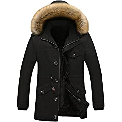 JYG Men's Winter Thicken Cotton Coat Fashion Parka Jacket with Fur Hood