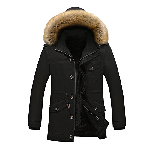 JYG Men's Winter Thicken Cotton Coat with Faux-Fur Removable Hood(Asia XXL, Black)