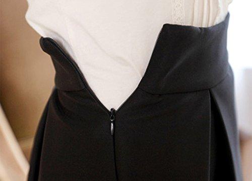 URqueen Women's Retro High Waist Casual Swing Midi Long Skirt Black
