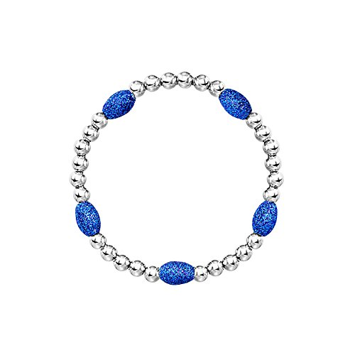 Nickel Free Costume Jewellery Uk (Blue Oval Stone Beaded Bracelet)