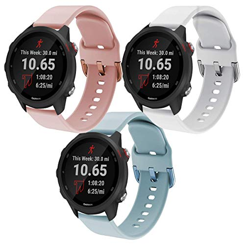 Intoval Compatible with Garmin Forerunner 245 Bands/Garmin Forerunner 245 Music,20mm Soft Silicone Women Men Sport Band Replacement Wrist Straps for Garmin Forerunner 245/645 GPS Running Smartwatch.