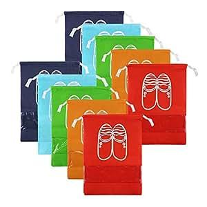 CHRISLZ 10pcs Travel Shoes Bag Finishing Bag Dustproof Shoes Storage Bag Bundle Pocket Drawstring Organizer Bag (10-color-m)