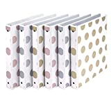 Samsill Fashion Design 3 Ring Binder, Dots, 1 Inch Round Rings, Assorted Colors (Gold, Silver, Rose Gold), Bulk Binders - 6 Pack