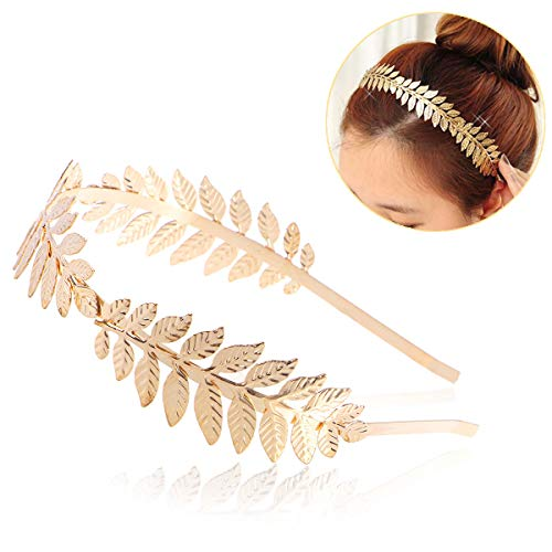 NUOLUX Roman Goddess Leaf Branch Dainty Bridal Hair Crown Head Dress Boho Alice Band (Gold)
