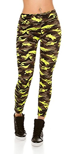 TRENDY WORKOUT LEGGINGS IN CAMOUFLAGE I (36, Neongelb)