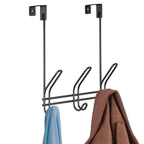 mDesign Metal Over Door Hanging Closet Storage Organizer Rack for Bedroom, Closet, Bath - Holds Men's/Women's Ties, Belts, Scarves, Jewelry, Accessories, 3 Large Hooks, 3 Small Hooks - Black - Boxer Necktie